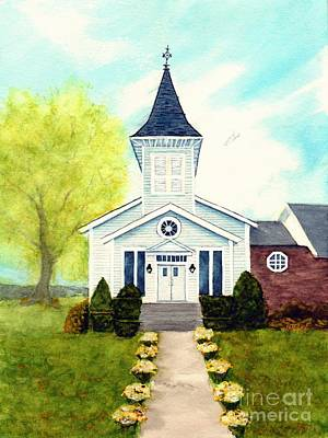 Painting - Perfect Day - Um Country Church South Canaan Pa by Janine Riley