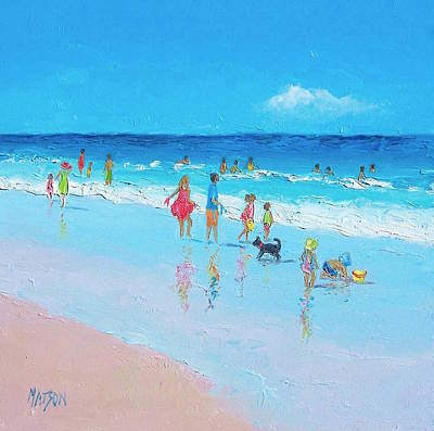 Children Playing On Beach Painting - Perfect Days by Jan Matson