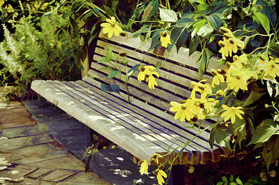 Photograph - Perfect Garden Bench With Cone Flowers by Sandi OReilly