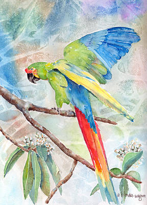 Parrot Painting - Perfect Landing by Arline Wagner
