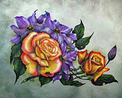 Louis Armstrong - Perfect Pair - Roses and Clematis by Cindy Treger