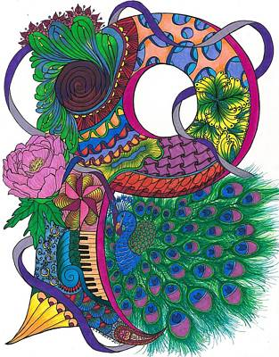 Pinwheels Drawing - Perfect Peacock by Jeanine Noegel
