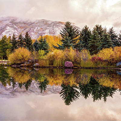 Colorado Ski Art Wall Art - Photograph - Perfect Reflections - Aspen Colorado Mountain Art by Gregory Ballos