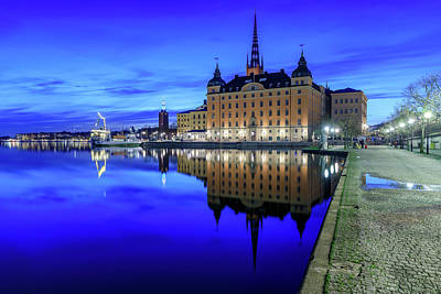 Photograph - Perfect Riddarholmen Blue Hour Reflection by Dejan Kostic
