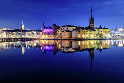 Photograph - Perfect Stockholm Gamla Stan Reflection In The Blue Hour by Dejan Kostic