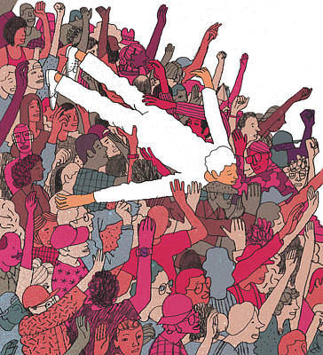 Drawing - Performer Crowd Surfing by Josh Cochran