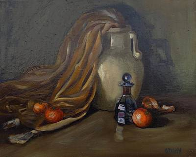 Painting - Perfume Bottle With Clementines by Grace Diehl