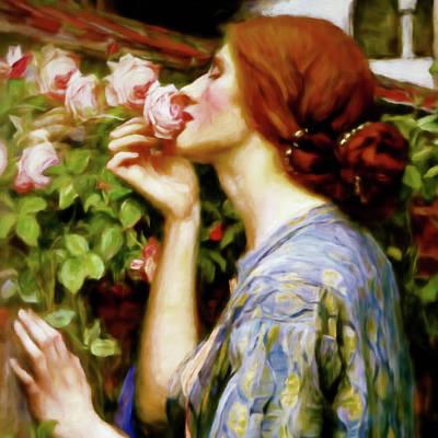 Portrait Of Woman Mixed Media - Perfumed Soul Of A Rose Portrait Closeup by Georgiana Romanovna