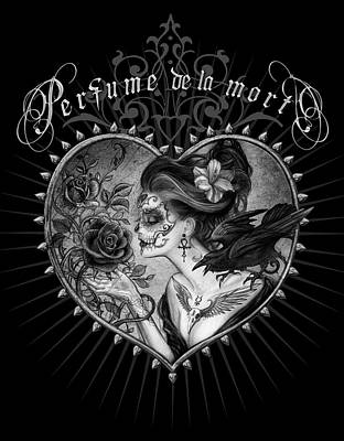 Raven Mixed Media - Perfumede La Mort by Alchemy