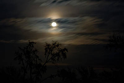 Photograph - Perigee Moon Over Blue Eye by Gwen Vann-Horn