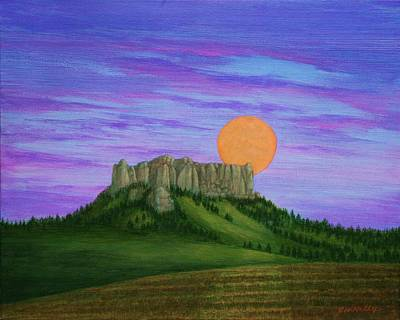 Painting - Perigee Moon Rising Above Crow Butte by J W Kelly
