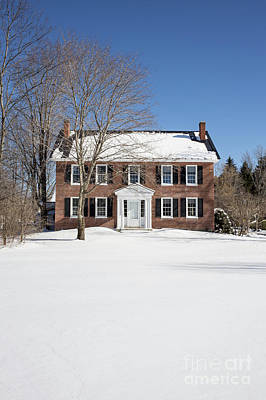 Chimney Photograph - Period Vintage New England Brick House In Winter by Edward Fielding