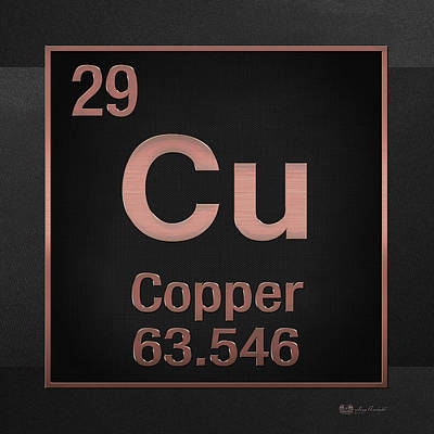 Periodic Table Of Elements - Copper - Cu - Copper On Black Art Print