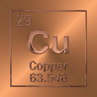 Digital Art - Periodic Table Of Elements - Copper - Cu by Serge Averbukh