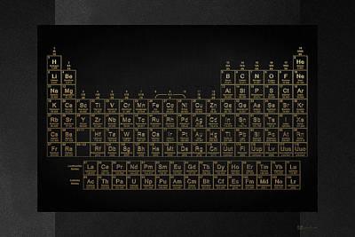 Digital Art - Periodic Table Of Elements - Gold On Black by Serge Averbukh