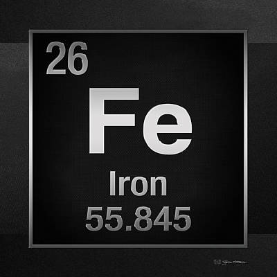 Digital Art - Periodic Table Of Elements - Iron - Fe On Black Canvas by Serge Averbukh