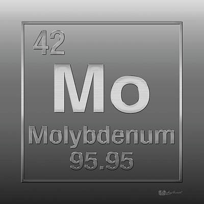 Digital Art - Periodic Table Of Elements - Molybdenum - Mo - On Molybdenum by Serge Averbukh