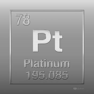 Digital Art - Periodic Table Of Elements - Platinum - Pt - Platinum On Platinum by Serge Averbukh