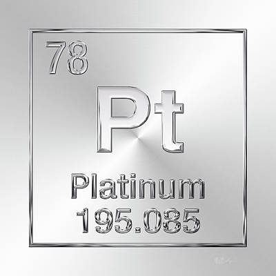 Digital Art - Periodic Table Of Elements - Platinum - Pt by Serge Averbukh