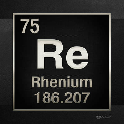 Digital Art - Periodic Table Of Elements - Rhenium - Re - On Black by Serge Averbukh