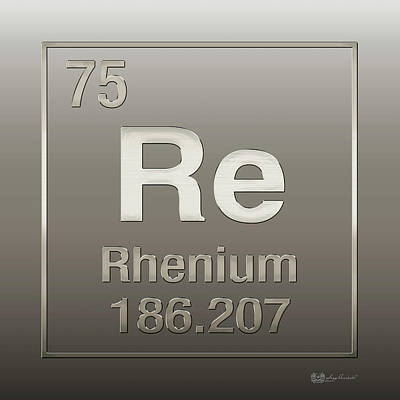Digital Art - Periodic Table Of Elements - Rhenium - Re - On Rhenium by Serge Averbukh
