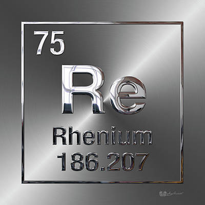 Digital Art - Periodic Table Of Elements - Rhenium by Serge Averbukh