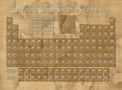 Monochromatic Digital Art - Periodic Table Of The Elements Vintage 5 by Bekim Art