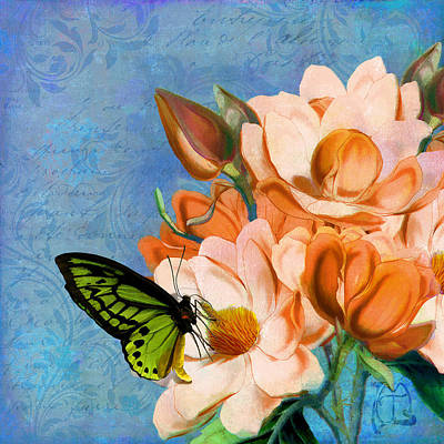 Neon Mixed Media - Periwinkle, Peach Magnolias, Green Butterfly Vintage Elements by Tina Lavoie