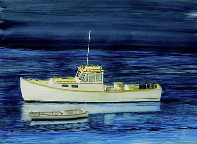 Perkins Cove Painting - Perkins Cove Lobster Boat And Skiff by Paul Gaj