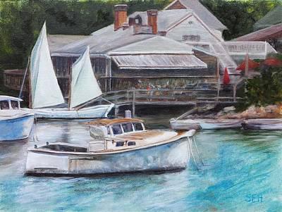 Perkins Cove Painting - Perkins Cove Trio by Susan E Hanna