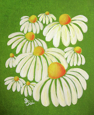 Painting - Perky Daisies by Oiyee At Oystudio
