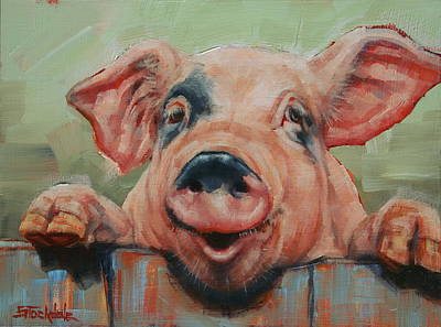 Painting - Perky Pig by Margaret Stockdale