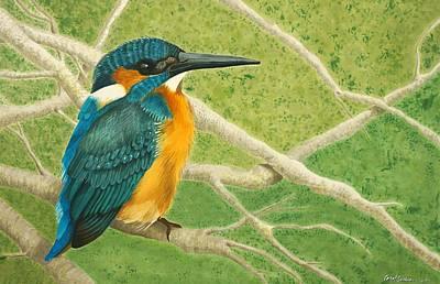 Wall Art - Painting - Perky The Kingfisher by Carol P Sullivan