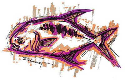 Swordfish Mixed Media - Permit Artwork Salt Water Fly Fishing by David Danforth