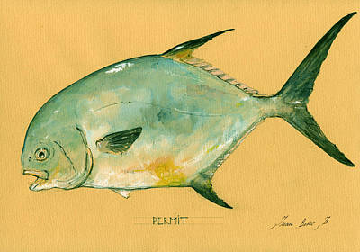 Permit Fish Art Print by Juan  Bosco