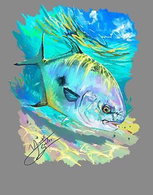 Florida Digital Art - Permit On Fly  by Yusniel Santos