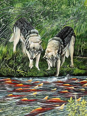Sockeye Painting - Perplexed Wolves by Bob Patterson