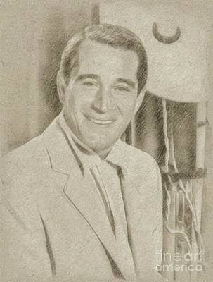 Classic Portrait Drawing - Perry Como, Singer by Frank Falcon