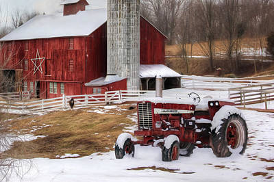 Red Barns Mixed Media - Perry County Farm by Lori Deiter