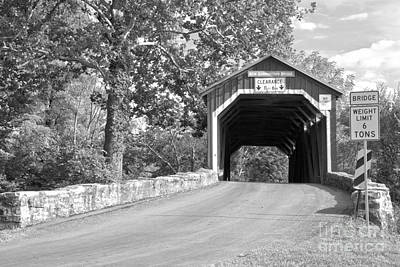 Photograph - Perry County New Germantown Covered Bridge Black And White by Adam Jewell