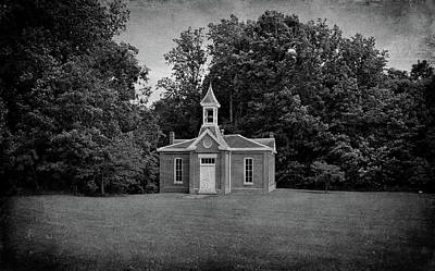 Southern Indiana Photograph - Perry Township School No. 3 B W by Sandy Keeton