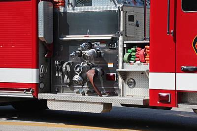 Photograph - Perrysburg Fire Truck Hoses by Michiale Schneider
