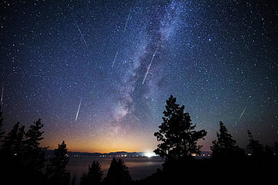 Print featuring the photograph Perseid Meteor Shower From Tahoe by Brad Scott