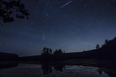 Photograph - Perseid Meteor Shower Over Pond by John Burk