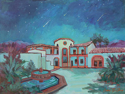 Art Print featuring the painting Perseids Meteor Shower From La Quinta Museum by Diane McClary