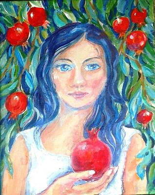 Painting - Persephone And Pomegranates  by Trudi Doyle