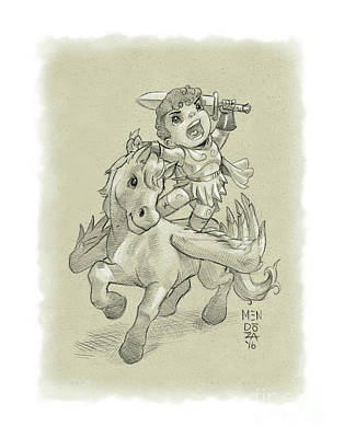 Perseus And Pegasus Art Print by Little Ninja Studios