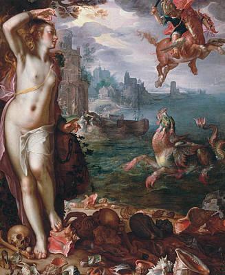 Perseus Releases Andromeda Art Print by Joachim Wtewael