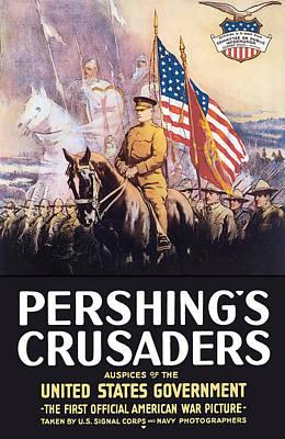Landmarks Painting Royalty Free Images - Pershings Crusaders -- WW1 Propaganda Royalty-Free Image by War Is Hell Store