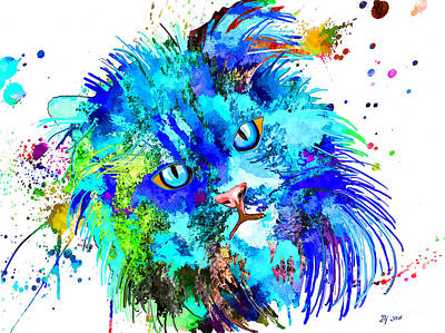 Watercolor Pet Portraits Mixed Media - Persian Cat Colored by Daniel Janda